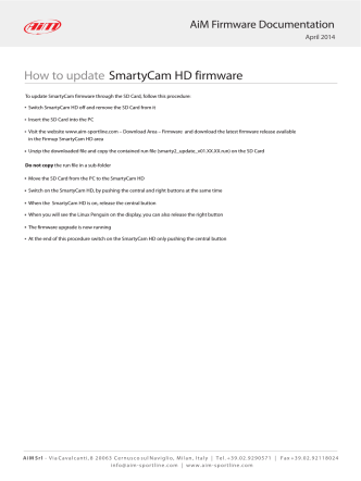 How to update SmartyCam HD fi... - AIM Sportline