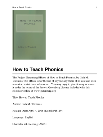 How to Teach Phonics - Social Sciences And Humanities