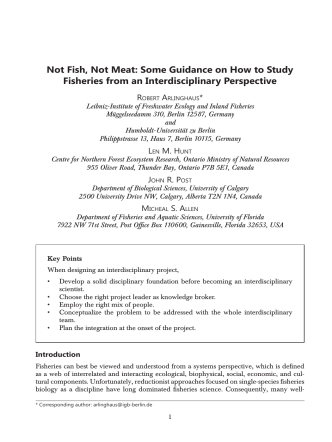 Not Fish, Not Meat: Some Guidance on How to Study Fisheries from