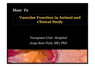 How To Vascular Function in Animal and How To Vascular Function