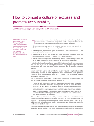 How to combat a culture of excuses and promote accountability