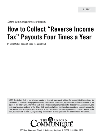 "How to Collect ""Reverse Income Tax"" Payouts - The Oxford Club"