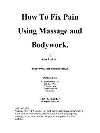 HOW TO FIX PAIN USING MASSAGE and - SLM Bodywork