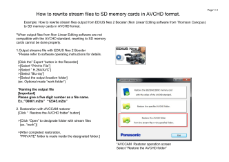 How to rewrite stream files to SD memory cards in AVCHD format.