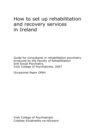 How to set up rehabilitation and recovery services in Ireland