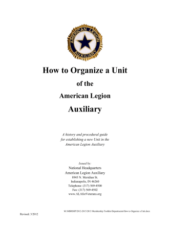 How to Organize a Unit Auxiliary - American Legion Auxiliary