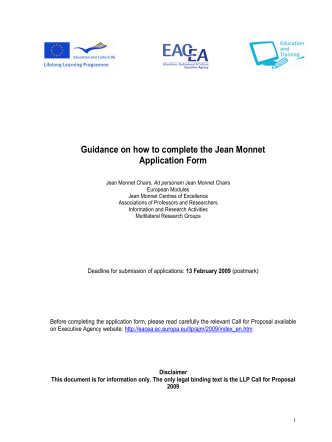 Guidance on how to complete the Jean Monnet - EACEA - Europa