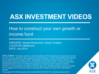 ASX Investment videos - George Boubouras, How to construct your
