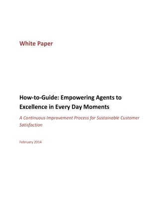 White Paper How-to-Guide: Empowering Agents to Excellence in