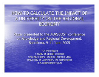 HOW TO CALCULATE THE IMPACT OF A UNIVERSITY ON THE