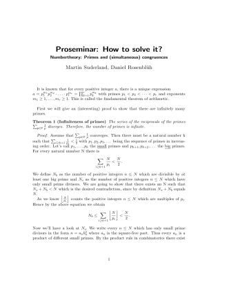 Proseminar: How to solve it?