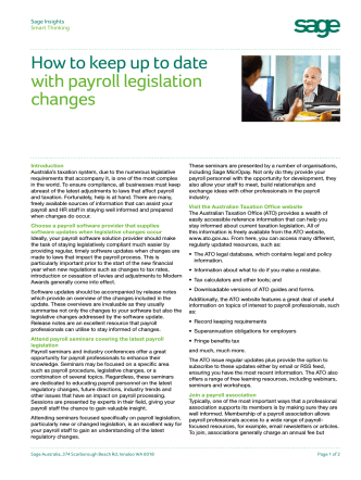 How to keep up to date with payroll legislation - Sage Australia