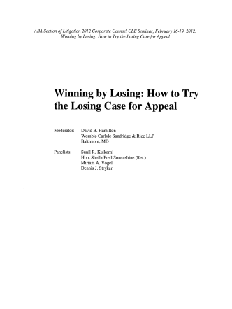 Winning by Losing: How to Try the Losing Case for Appeal