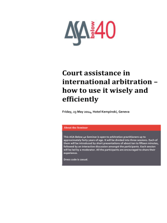 Court assistance in international arbitration – how to use it - Lalive