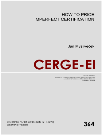 HOW TO PRICE IMPERFECT CERTIFICATION - cerge-ei