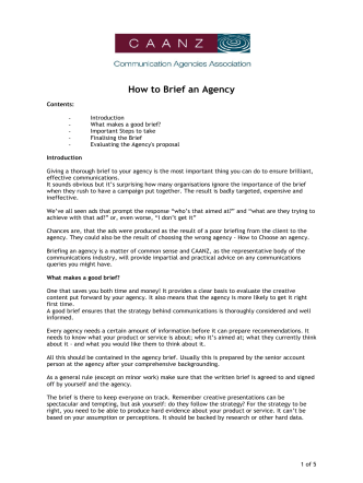 How to Brief an Agency - caanz