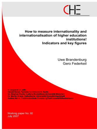 How to measure internationality and internationalisation of higher