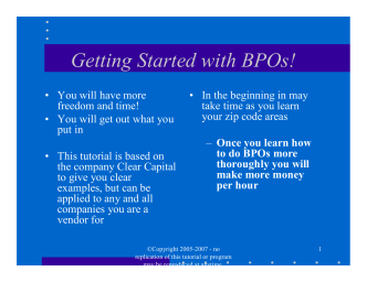 Tutorial Power Point - How to do BPOs for a living - WEBSITE