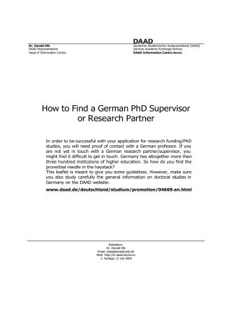 How to Find a German PhD Supervisor or Research Partner - DAAD