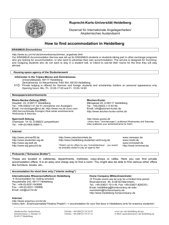 Erasmus-How to find Accommodation in Heidelberg