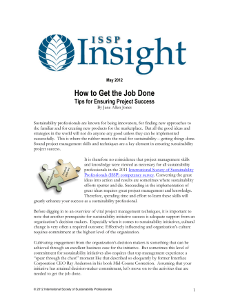 Aug 2012 How to Get the Job Done - International Society of