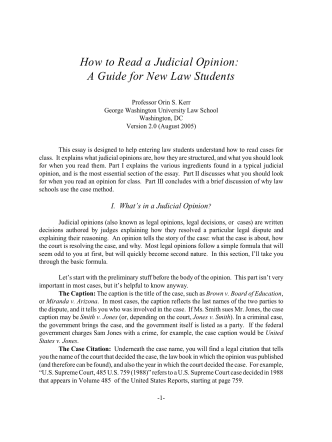 How to Read a Judicial Opinion: A Guide for New Law - hssph.net