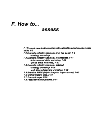 F. How to... assess - McMaster University
