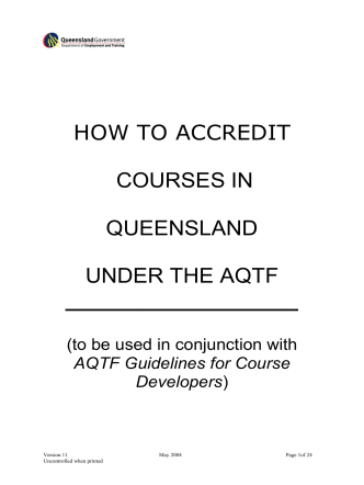 How to accredit courses in Queensland under the Australian Quality