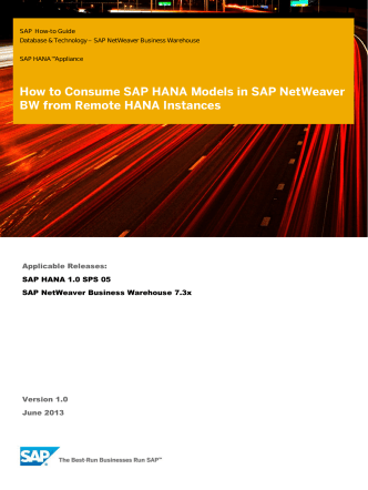 How to Consume SAP HANA Models in SAP NetWeaver BW from