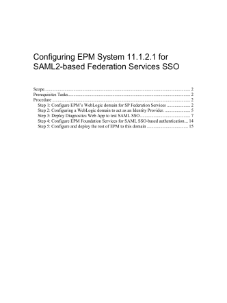 How to configure EPM Foundation Services 11 - Oracle