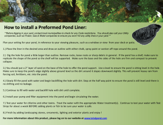 How to install a Preformed Pond Liner: - Home Depot