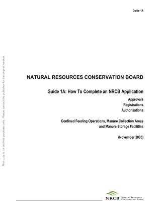 Natural Resources Conservation Board Guide 1A: How to Complete