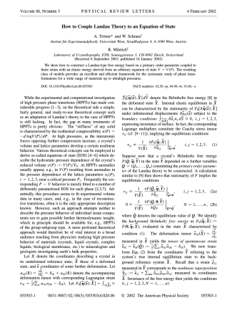 How to Couple Landau Theory to an Equation of - Universität Wien