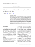 Risky Communication: Pitfalls in Counseling About Risk, and How to