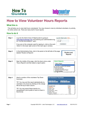 How to View Volunteer Hours Reports - HelpCounter