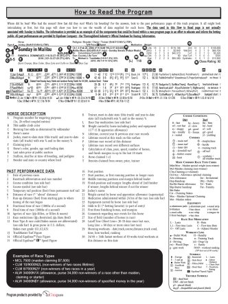 How to Read the Program - Wyoming Horse Racing LLC