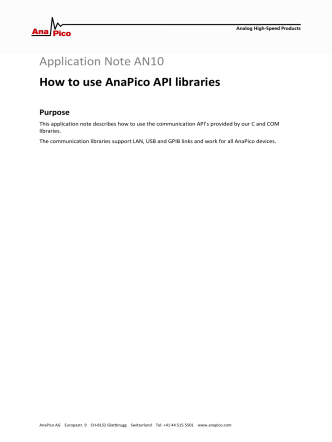 AN10 How to use AnaPico API