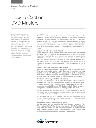 How to Caption DVD Masters - Telestream