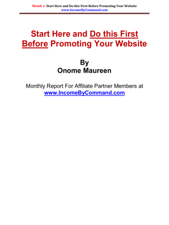 Start Here and Do this First Before Promoting Your Website By
