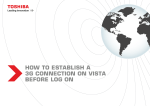 HOW TO ESTABLISH A 3G CONNECTION ON VISTA - Toshiba