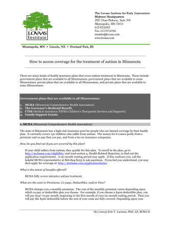 How to Access Autism Coverage in Minnesota - Autism Speaks