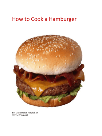 How to Cook a Hamburger - Christopher Mitchells E-Portfolio