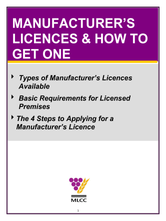 MANUFACTURERS LICENCES  HOW TO GET ONE - Manitoba