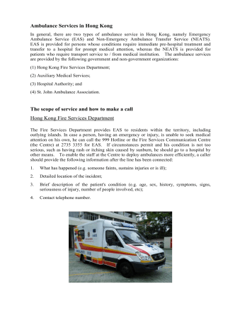 Ambulance Services in Hong Kong The scope of service and how to