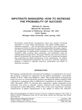 INPATRIATE MANAGERS: HOW TO INCREASE THE PROBABILITY