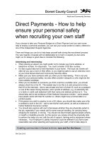 Direct Payments - How to help ensure your personal safety when