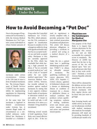 "How to Avoid Becoming a ""Pot Doc"" - Snell  Wilmer"