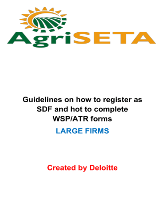 Guidelines on how to register as SDF and hot to complete WSP/ATR