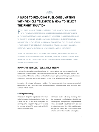 A Guide to ReducinG Fuel consumption with Vehicle telemAtics