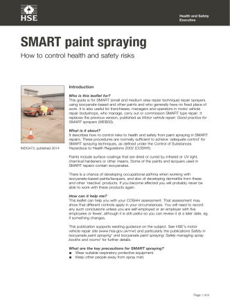 SMART paint spraying: How to control health and safety risks - HSE